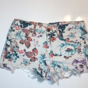 Free people floral denim cut off shorts